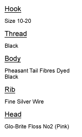 Fluo Pink Fly Tying Materials List
