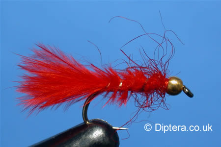 GoldBead Bloodworm Completed Fly